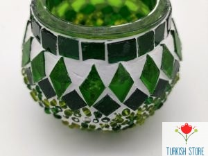 green mosaic holder